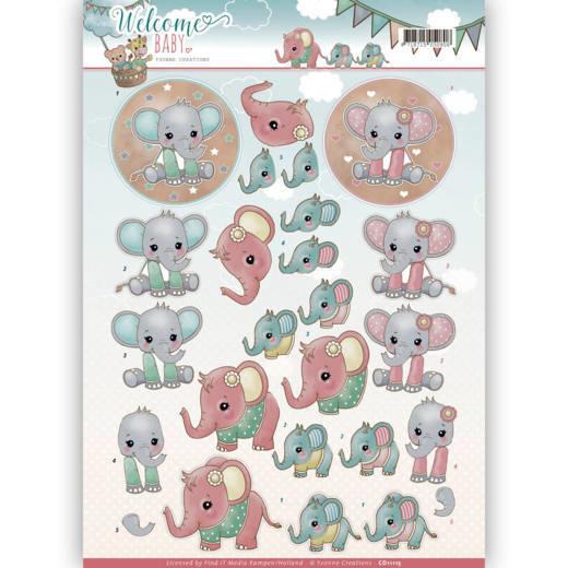 Yvonne Creations - 3D-Knipvel - Welcome Baby - Little Elephants CD11115