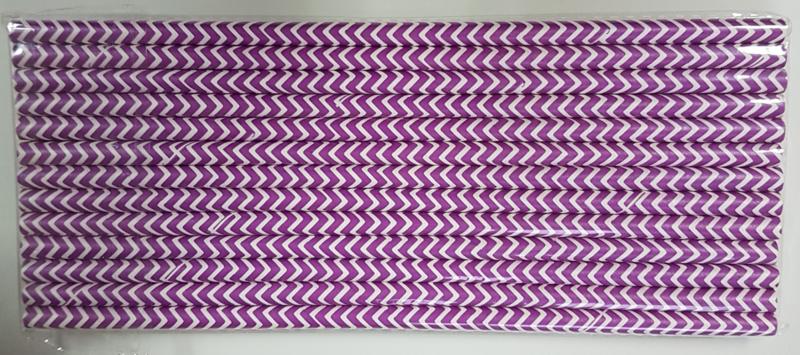 Rietjes 25 stuks chevron paars