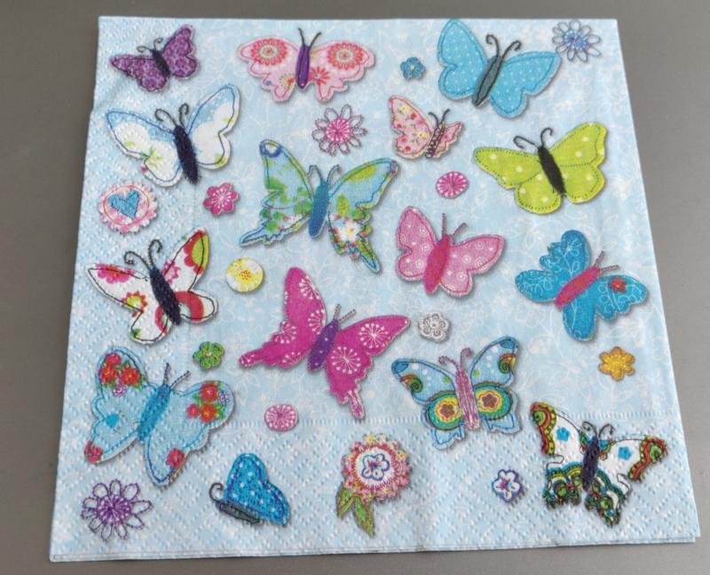 Servet vlinder 33x33cm