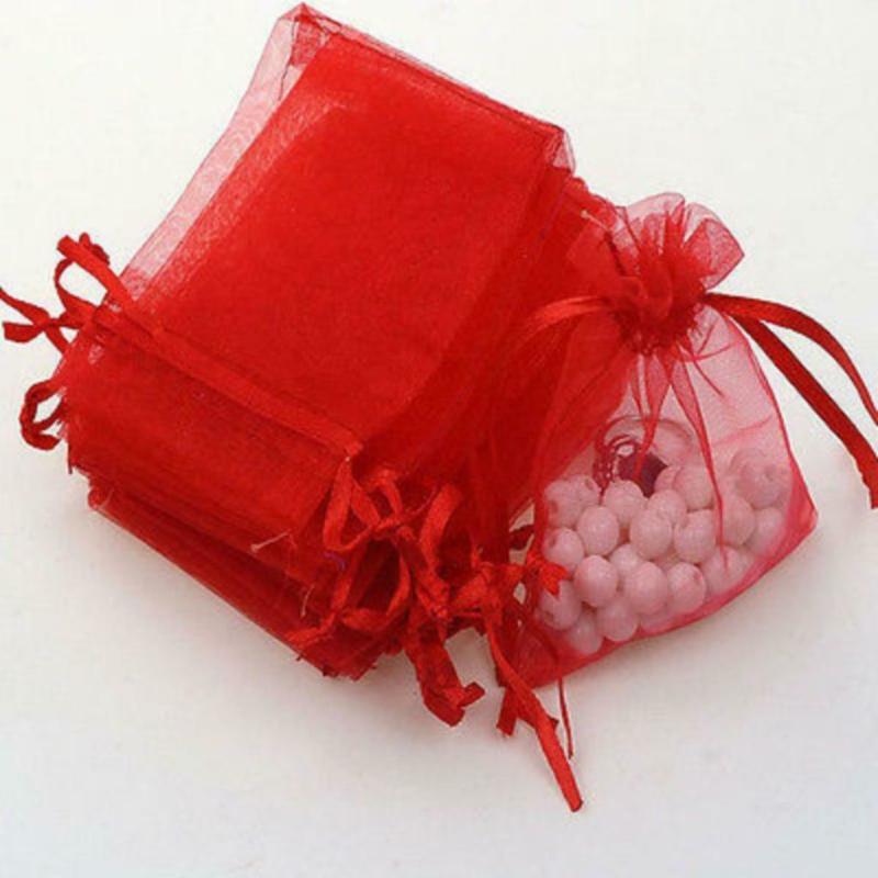 Organza zakjes rood 7x9cm - 10 stuks