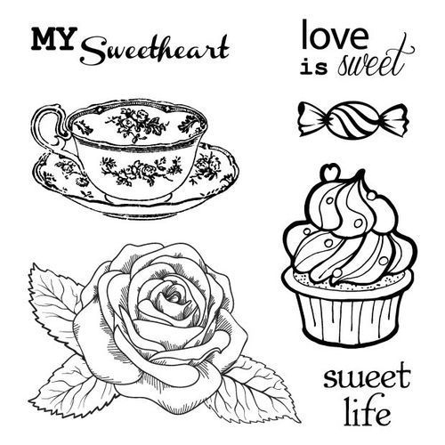 ScrapBerry's Set Of Clear Stamps 10,5x10,5 cm Afternoon Tea