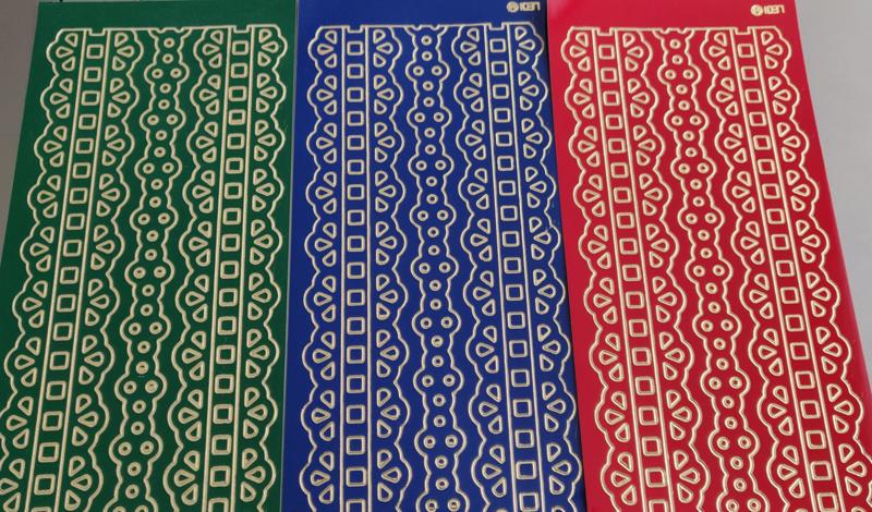 Stickervellen randjes 3 stuks groen, blauw, rood