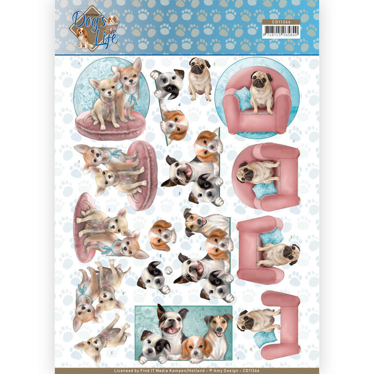 Amy Design - 3D Knipvel -Dogs Life - All kind of Dogs CD11366