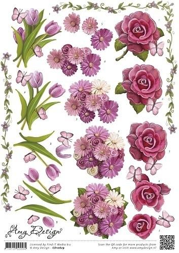 Amy Design - CD10629  3D Knipvel - Flowers