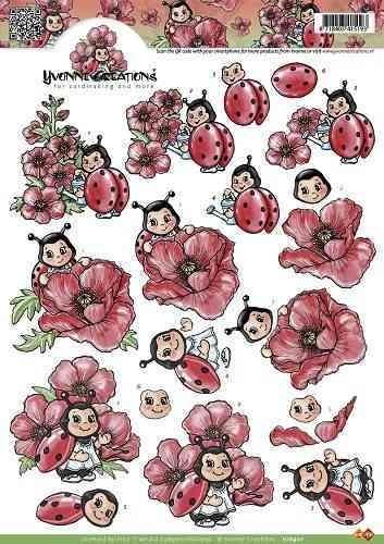 Yvonne Creations Knipvel HJ8901 Lieveheersbeestjes