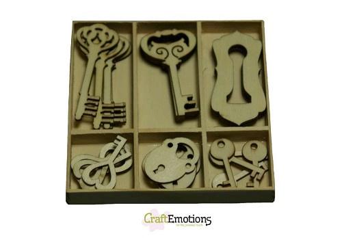 Houten ornamenten - Key and lock 30st. 811500/0211