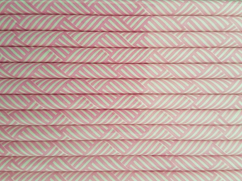 Rietjes 25 stuks Dubbele streepjes licht roze