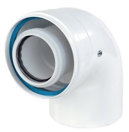 Ubbink Rolux bocht 87° PP120/aluminium wit 60/100