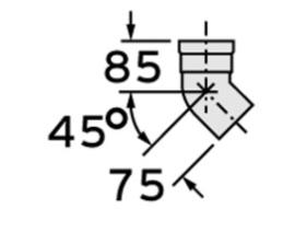 Bocht 45° pp 80mm (2stuks)