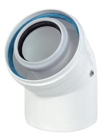 Ubbink Rolux bocht 45° PP120/aluminium wit 60/100
