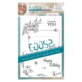 COOSA Crafts clear stamp #04 - Envelope Flowers A6