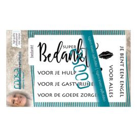 COOSA Crafts clear stamps A7#1 - Tekst 'Bedankt' - 8-delig (NL) - 10 Qty