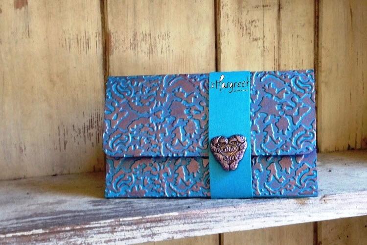 giftcardholder blue heart damask