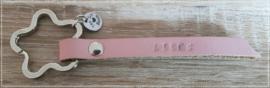 Leren sleutel-/tashanger - Roze - Liefs