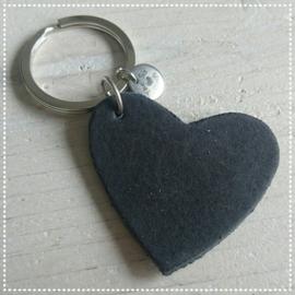 Sleutel-/tashanger - Hart zwart