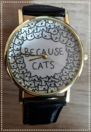 Horloge - Because cats zwart