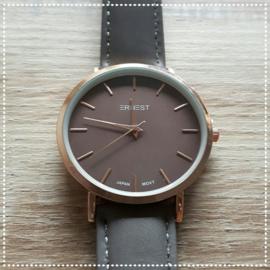 Horloge - Ernest bruin roségoud