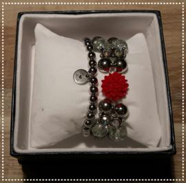 Setje - Zilver roos rood