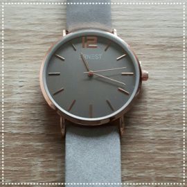 Horloge - donkergrijs roségoud