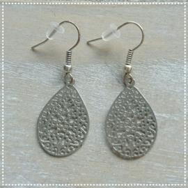 Oorbellen - Druppel zilver