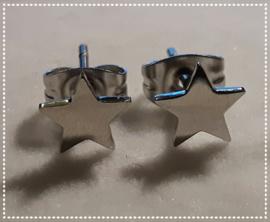 Oorbellen - Sterretje dicht zilver