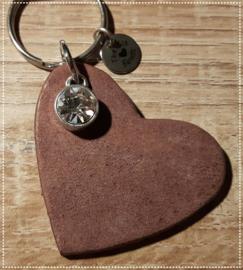 Sleutel-/tashanger - Hart cristal bruin
