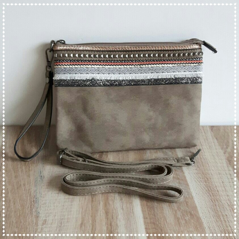 Tas clutch groot - Taupe chic Inca