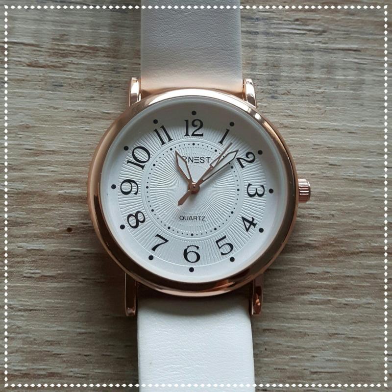 Horloge - Ernest wit roségoud