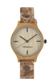 WOMEN BAMBOO watch with SINGLE LEATHER  or CORK Strap without numbers
