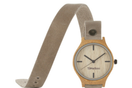 WOMEN BAMBOO watch with DOUBLE LEATHER  or CORK Strap without numbers