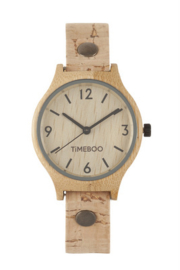 WOMEN BAMBOO watch with SINGLE LEATHER  or CORK Strap with numbers (3-6-9-12)