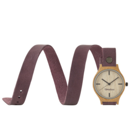 WOMEN BAMBOO watch Triple LEATHER or CORK strap without numbers