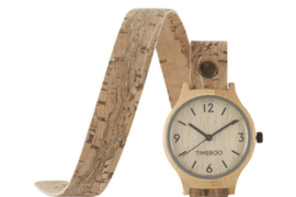 WOMEN BAMBOO watch with DOUBLE  LEATHER  or CORK Strap with numbers (3-6-9-12)