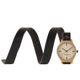 MEN BAMBOO watch with TRIPLE Leather  or Cork strap without  numbers
