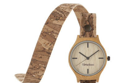 MEN BAMBOO watch Double with LEATHER  or CORK strap without numbers