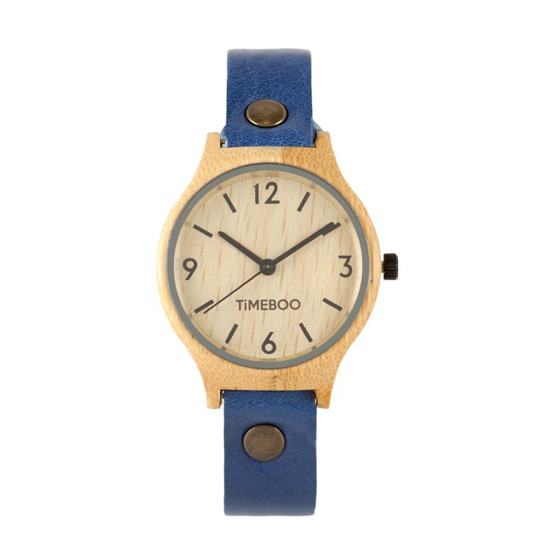 MEN BAMBOO watch SINGLE Leather or CORK  strap with numbers (3-6-9-12)