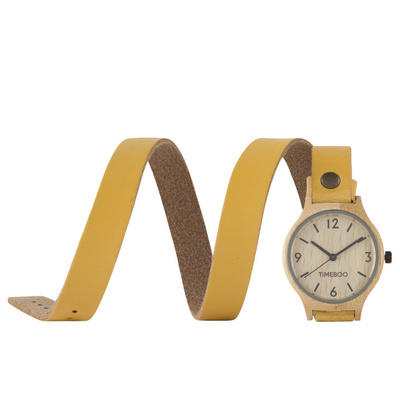 WOMEN BAMBOO watch with Triple LEATHER or CORK strap with numbers (3-6-9-12)