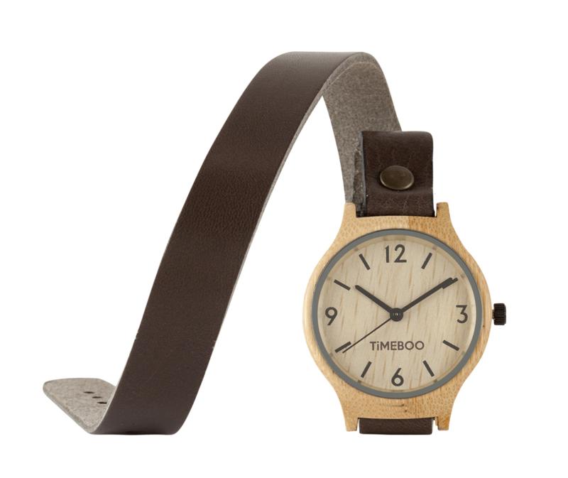 MEN BAMBOO watch DOUBLE Leather or Cork strap with numbers (3-6-9-12)