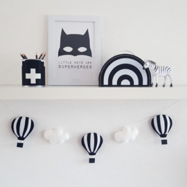 Slinger luchtballonnen zwart/wit