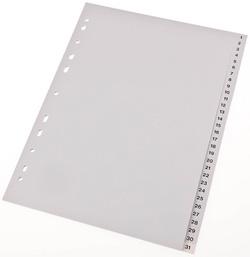 Tabblad proOFFICE A4 cijfers PP 120mµ grijs 11 gaats 31  delig