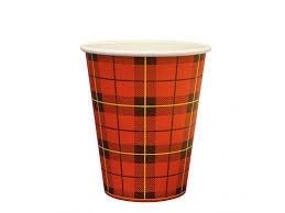 Beker  180cc 7oz hot cup Schotse ruit rood 25 x 100 stuks