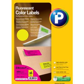 Printec verzendlabel neon geel 105 x 37 mm 16 etiketten per vel