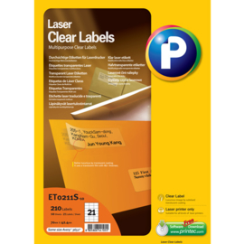 Printec Laser Clear label 70x42,3  21 etiketten per vel