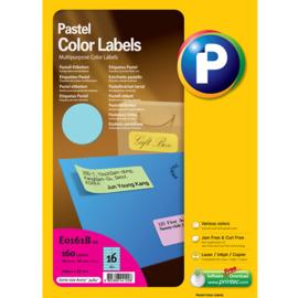 Printec verzendlabel pastel blauw 105 x 37 mm 16 etiketten per vel