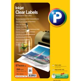 Printec inktjet Clear label 70x42,3  21 etiketten per vel