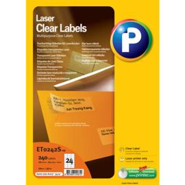 Printec Laser Clear label 70x37  24 etiketten per vel