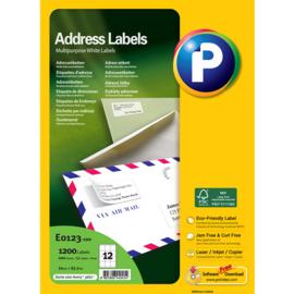 Printec adreslabel 70 x 67,7 mm 12 etiketten per vel