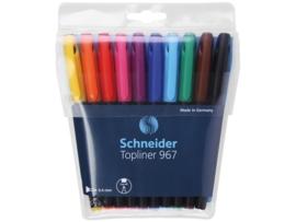 Fineliner Schneider Topliner 967 0,4mm etui a 10 stuks assorti