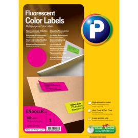 Printec verzendlabel neon magenta 210 x 297 mm 1 etiketten per vel