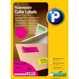 Printec verzendlabel neon magenta 70x37 mm 24 etiketten per vel